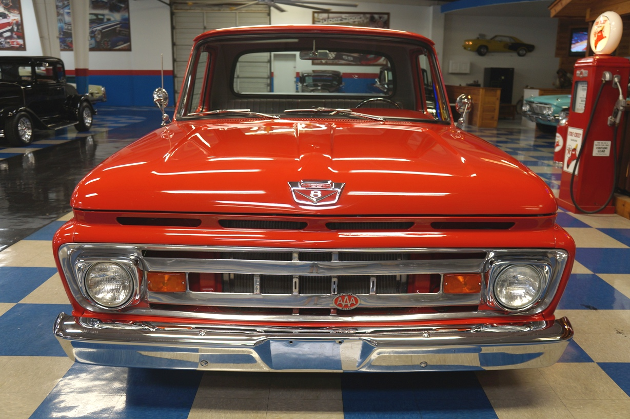 1961 Ford F100 Pickup Red Ae Classic Cars 1969 Short Bed Full
