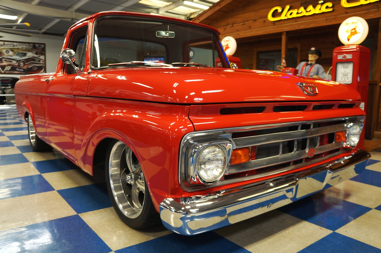 1961 Ford F100 Pickup Red Ae Classic Cars 1955 Truck Steering Wheels Full