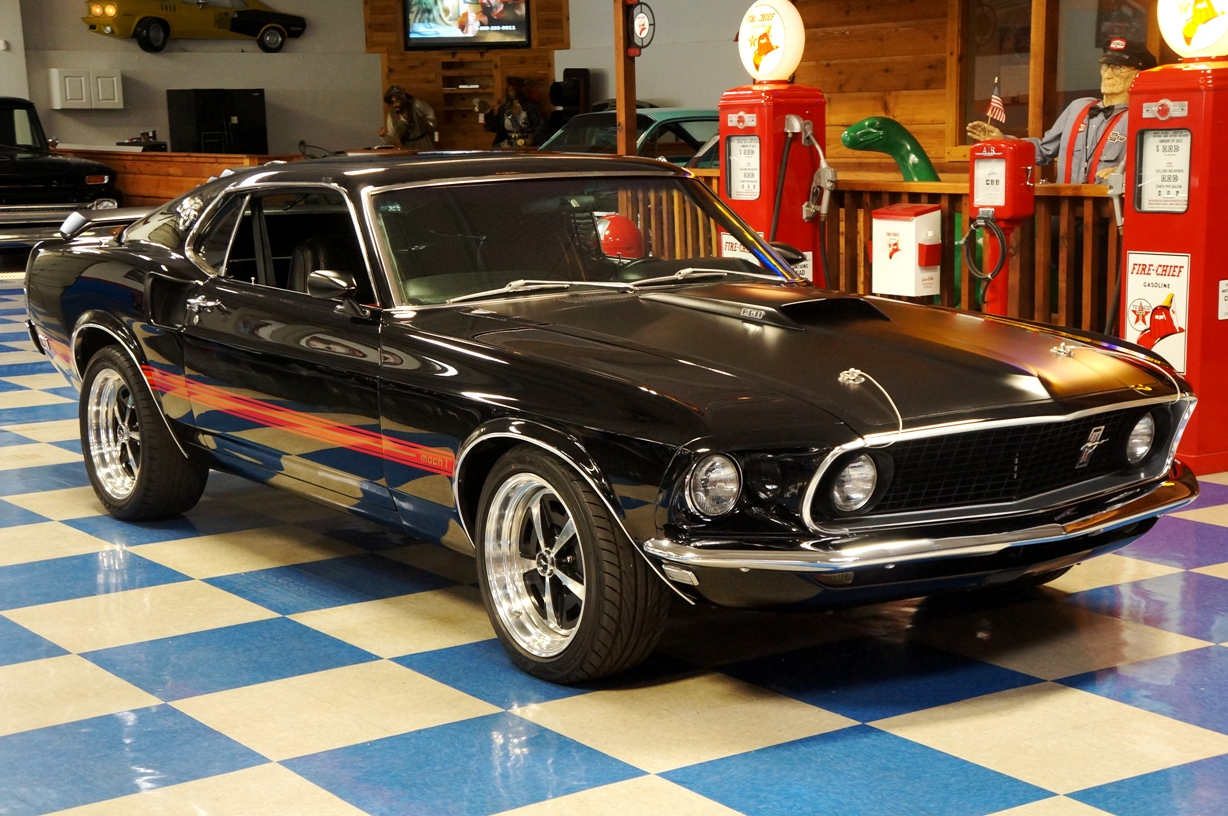 1969 ford mustang mach 1 black red full