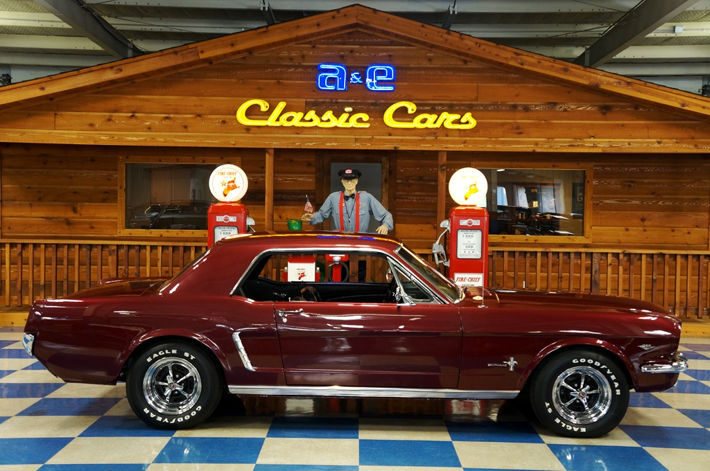 1965 Ford Mustang Coupe – Maroon – A&E Classic Cars