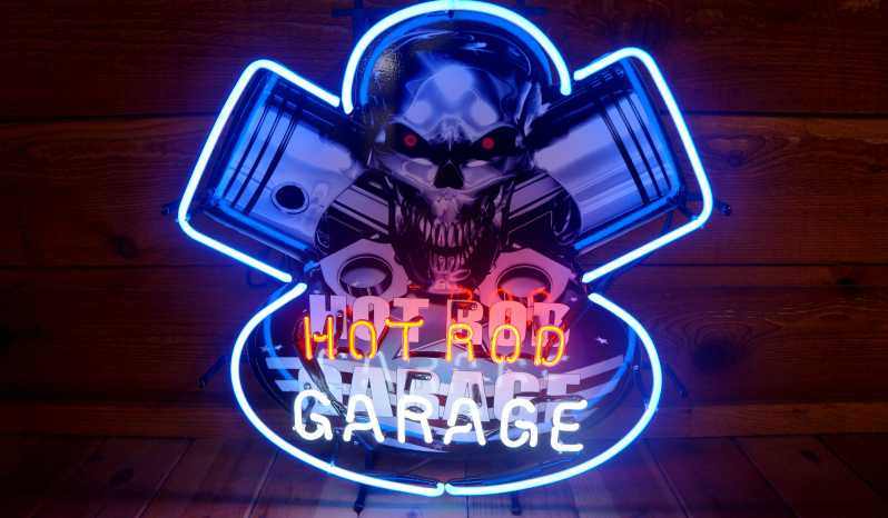 "Skull / Piston ""Hot Rod Garage"" Neon Sign full"