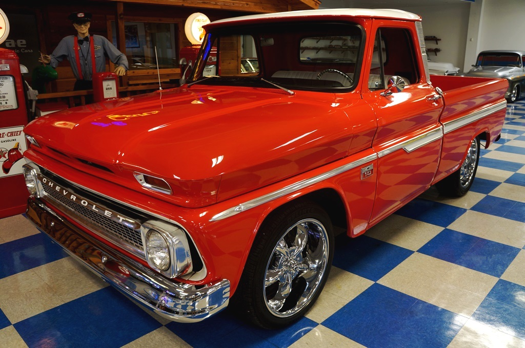 1966 Chevrolet C10 Pickup – Red / White – A&E Classic Cars