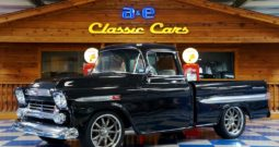1959 Chevrolet Fleetside Pickup Big Window Resto Mod – Midnight Metallic Black / Meteor Gray