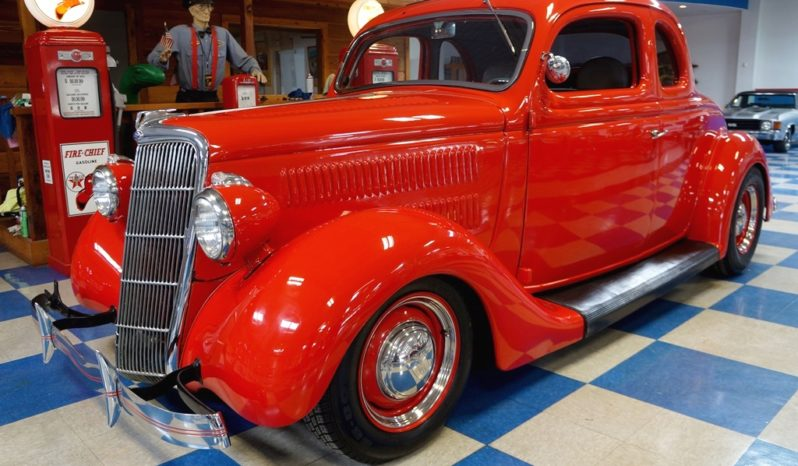 1935 Ford 5 Window Steel Body Coupe – Red full