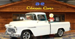1955 Chevrolet 3100 Cameo Pickup – White / Turquoise